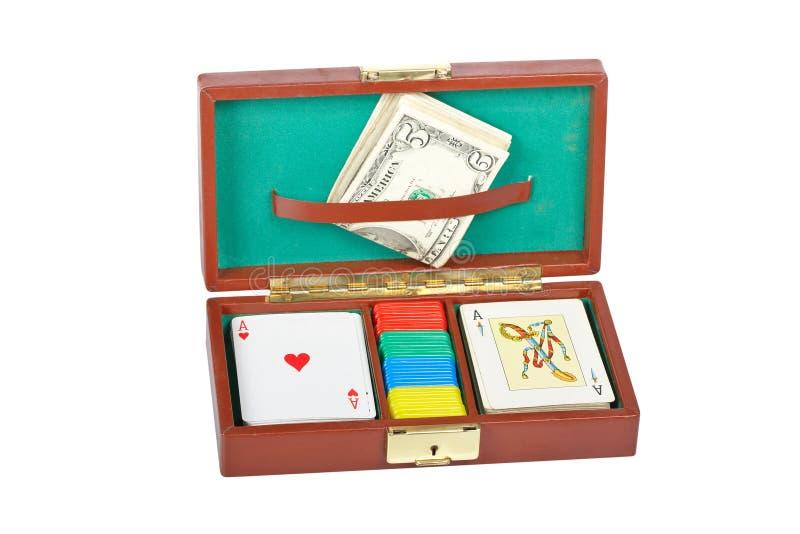 Cubierta y virutas del póker fotos de archivo