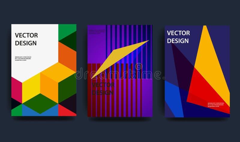 Cubiertas con diseño mínimo ejemplo ondulado de la forma 3d Fondo abstracto colorido Elemento creativo del diseño stock de ilustración