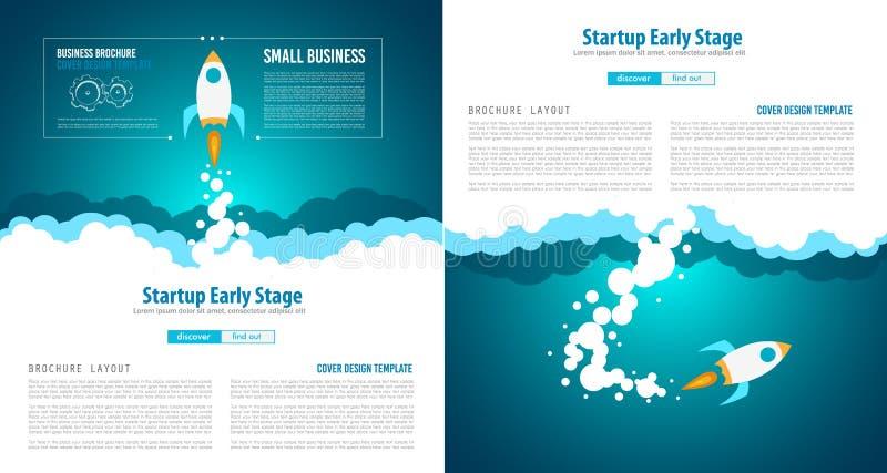 Cubiertas de la página web de lanzamiento del aterrizaje o del diseño corporativo stock de ilustración