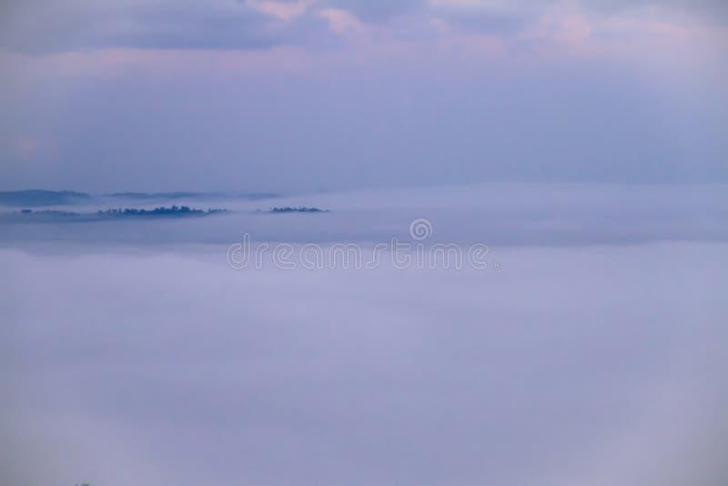 Cubiertas de niebla blancas las montañas verdes por la mañana con beaut imagen de archivo