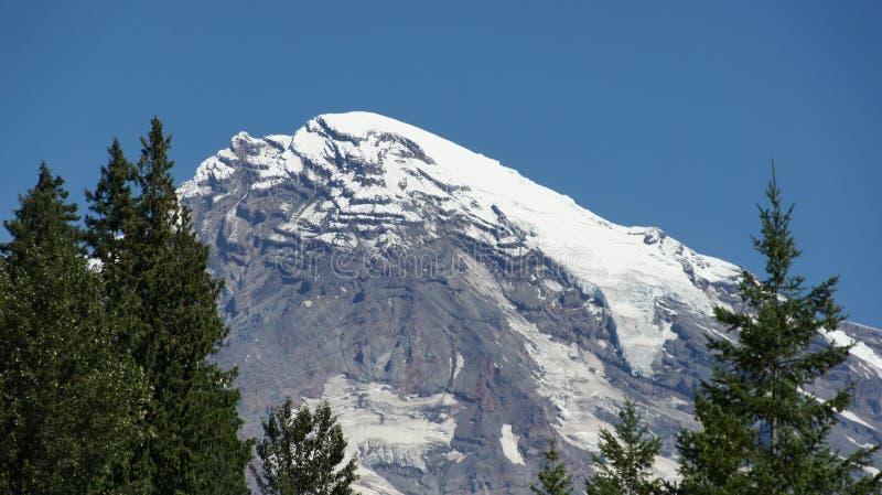 Cubiertas de nieve los picos del Monte Rainier fotos de archivo