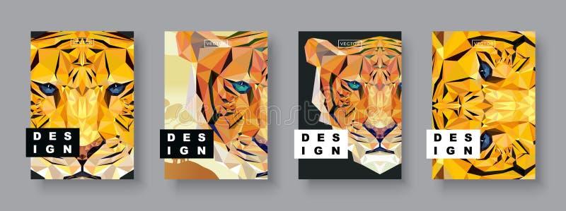 Cubiertas del extracto del tigre fijadas Plantilla del tigre de la tarjeta Plantilla futura del cartel Tono medio poligonal Ejemp fotos de archivo