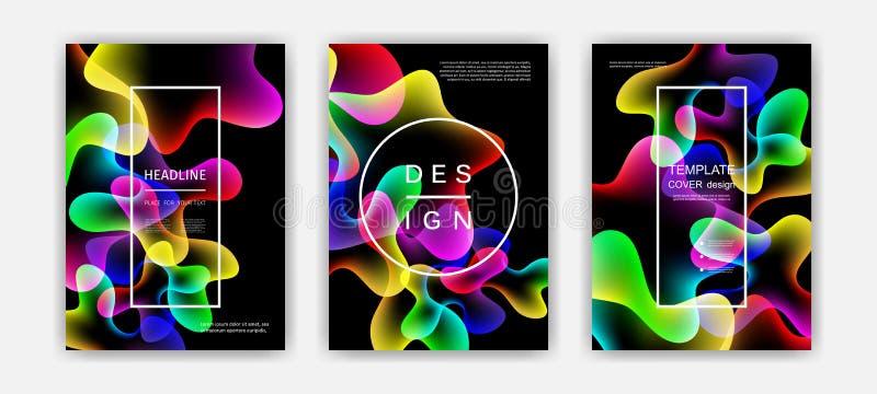 Cubiertas flúidas del color fijadas Formas coloridas de la burbuja con pendientes Diseño de moda stock de ilustración