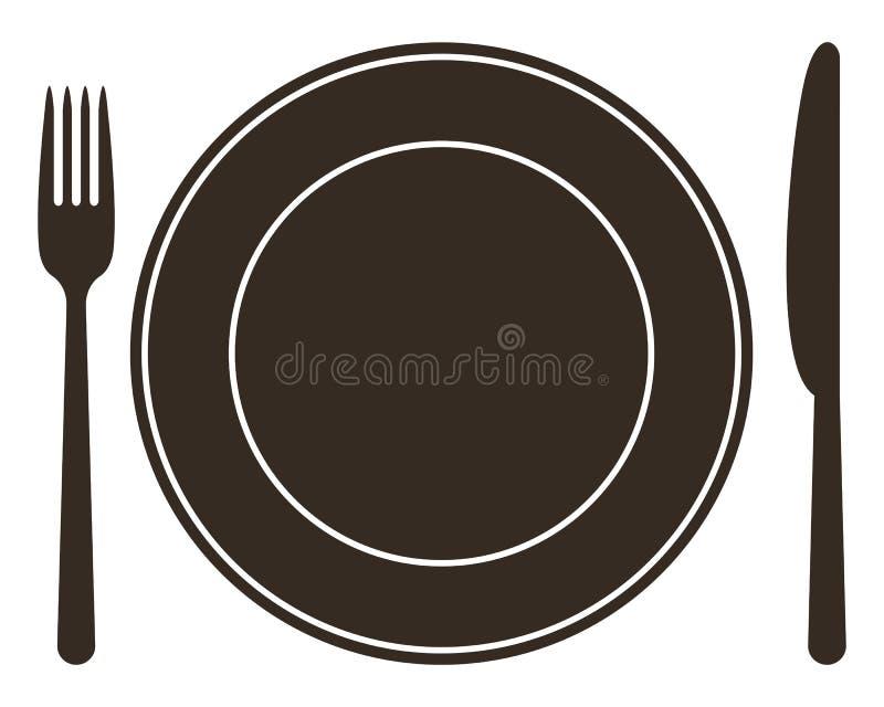 Cubierto con la placa, el cuchillo y la bifurcación libre illustration