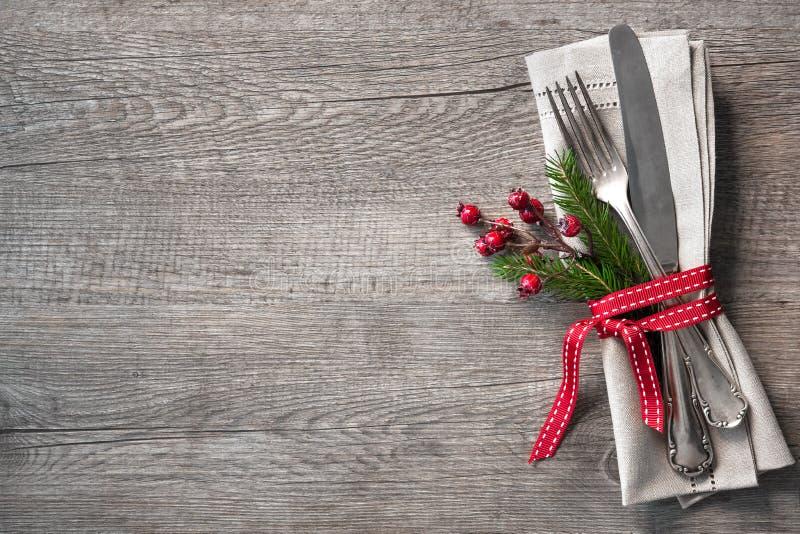 Cubierto de la tabla de la Navidad imagen de archivo