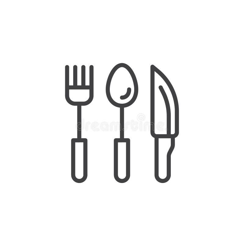 Cubiertos, cuchara de la bifurcación e icono filiforme stock de ilustración