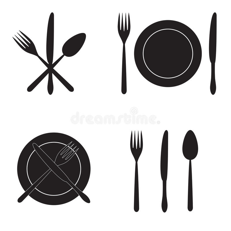 Cubiertos: cuchillo, bifurcación, cuchara y plato Iconos del vector fotografía de archivo libre de regalías