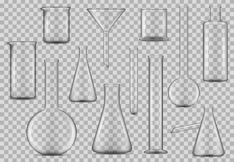 Cubiletes de la cristalería de laboratorio, pruebas de cristal químicas stock de ilustración
