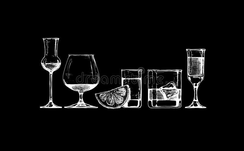 Cubiletes de los vidrios fijados stock de ilustración