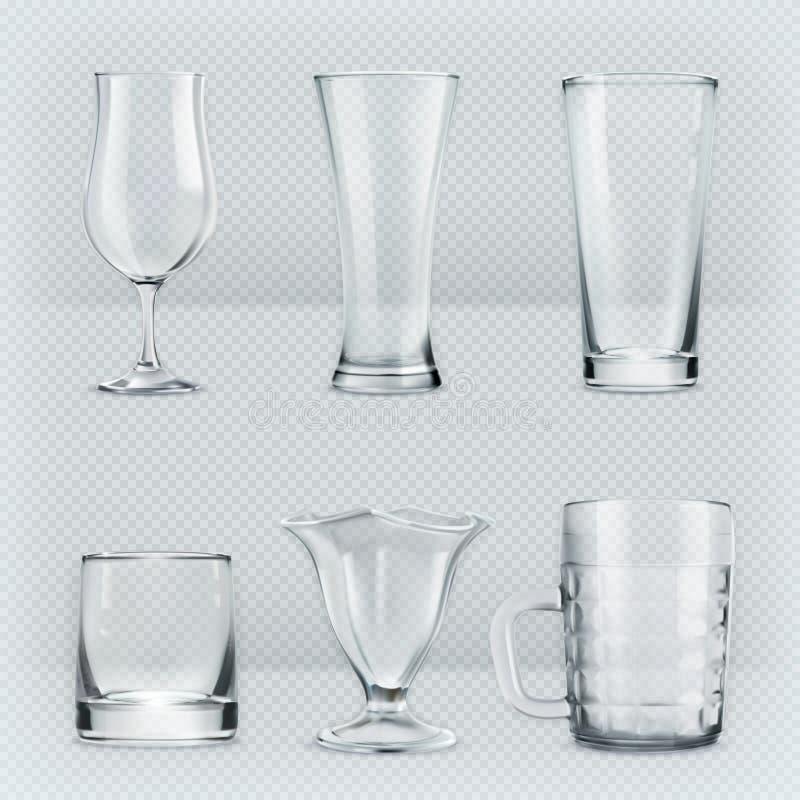 Cubiletes transparentes de los vidrios ilustración del vector