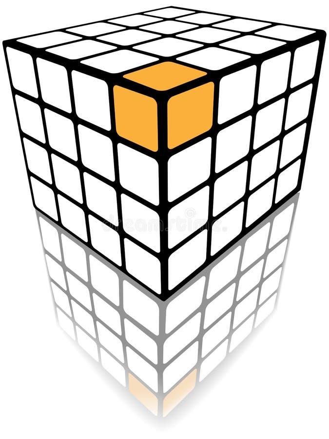 Cubique la solución del oro del rectángulo 3d del rompecabezas en blanco ilustración del vector
