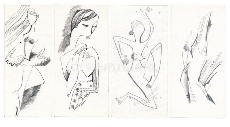 cubism vektor illustrationer