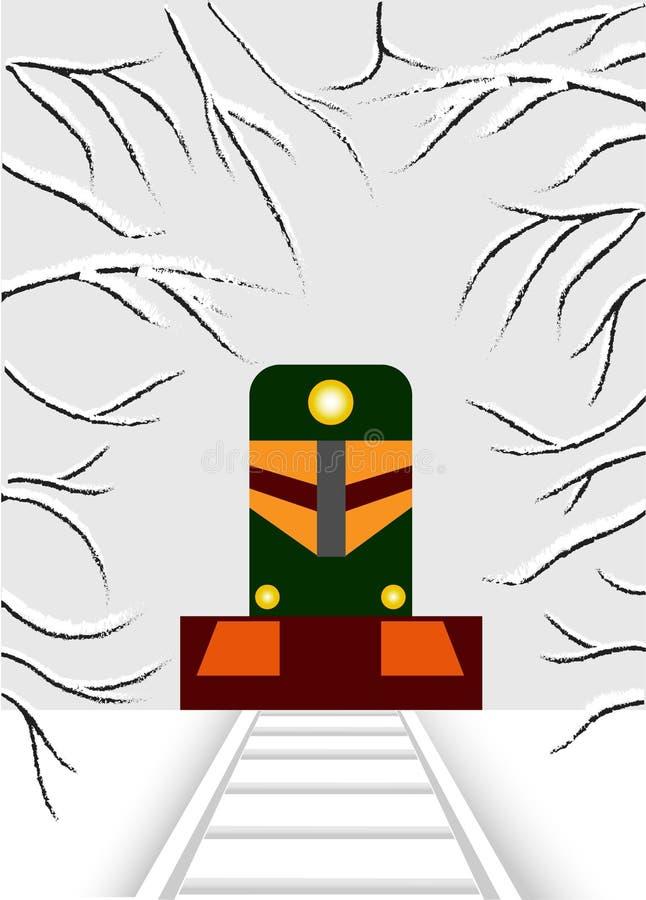 cubism Lokomotivet har våren royaltyfri illustrationer
