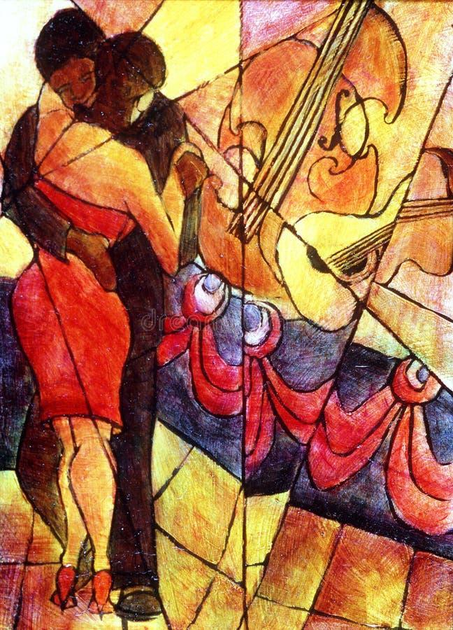Cubismo del jazz ilustración del vector