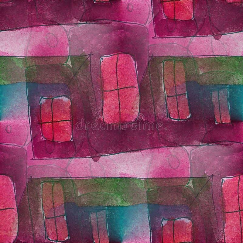 Cubismo violeta del artista, rosado, verde inconsútil libre illustration