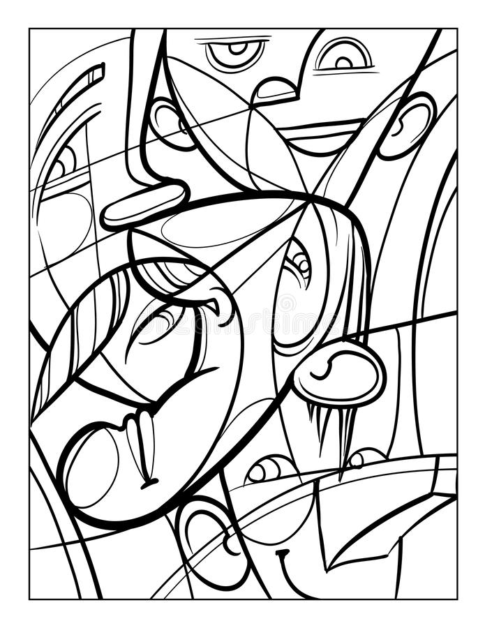 Cubist Faces Fun Coloring Page Stock Vector - Illustration ...