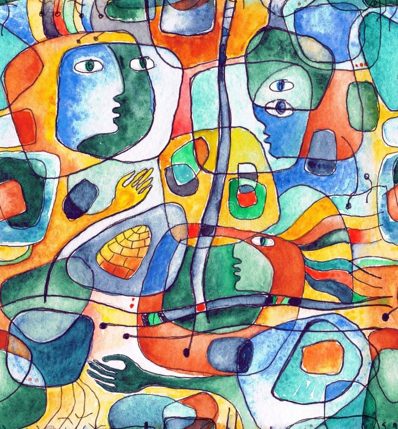 Cubistic nahtloses Muster mit den Linien und Gesichtern gemalt im Aquarell vektor abbildung