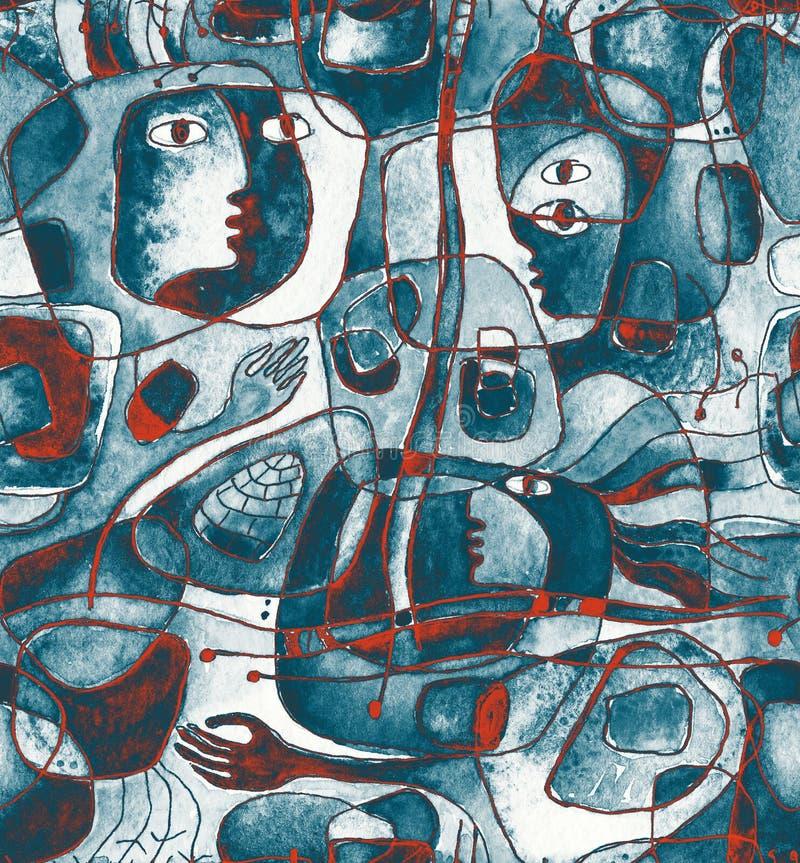 Cubistic nahtloses Muster mit Linien und Gesichtern vektor abbildung