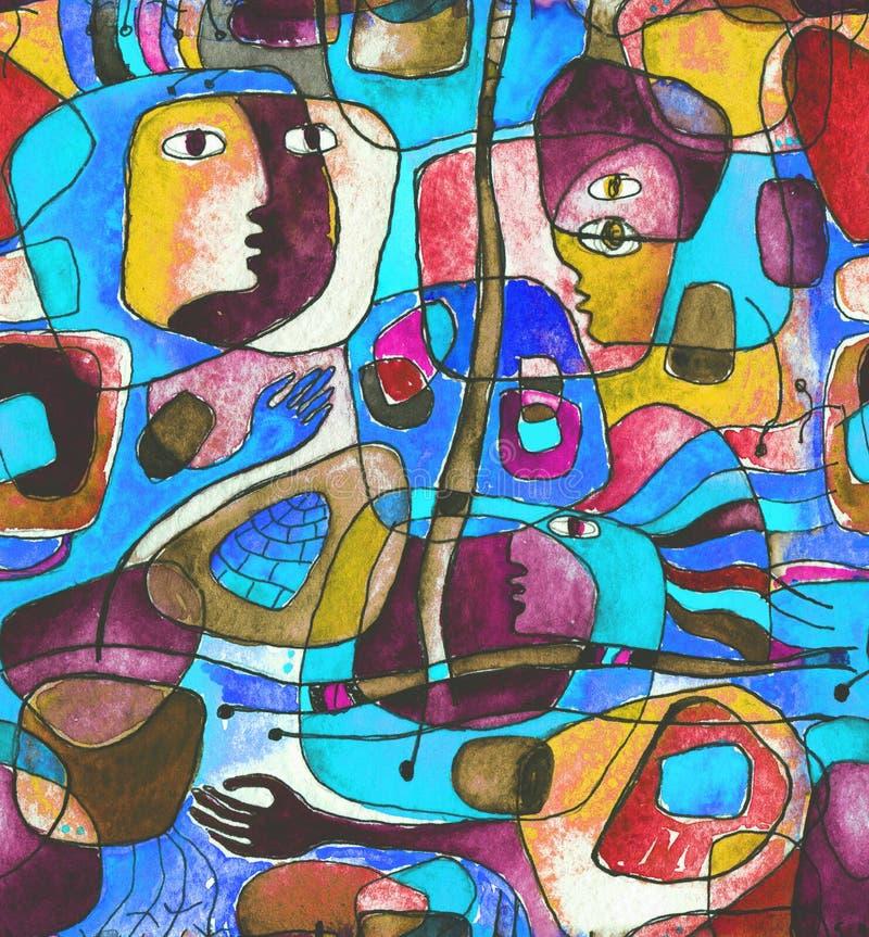Cubistic nahtloses Muster mit Linien und Gesichtern lizenzfreie abbildung