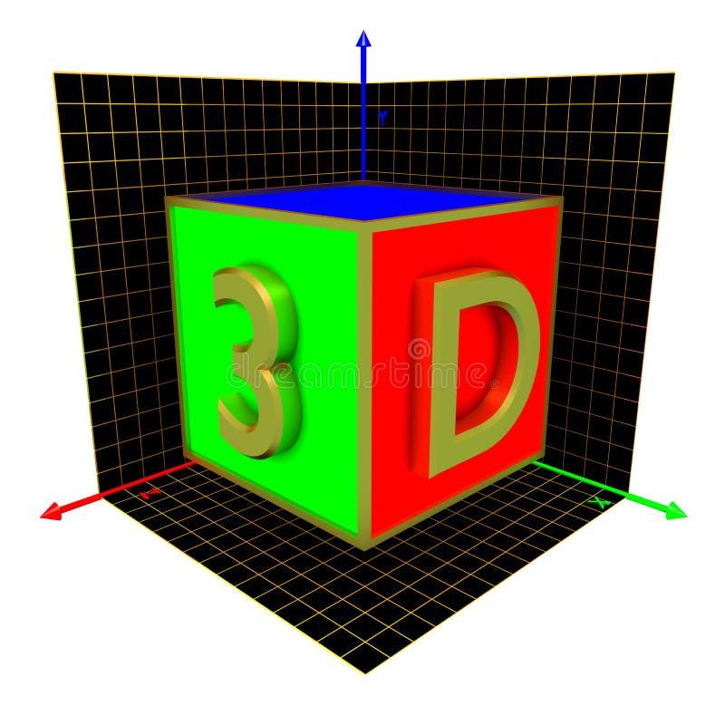 cubo 3D stock de ilustración