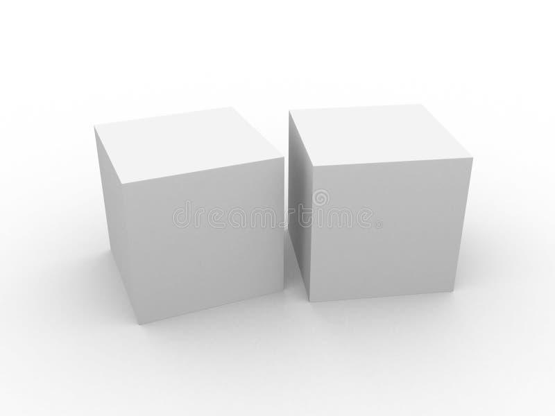 Cubo 3d branco isolado sobre o branco ilustração do vetor