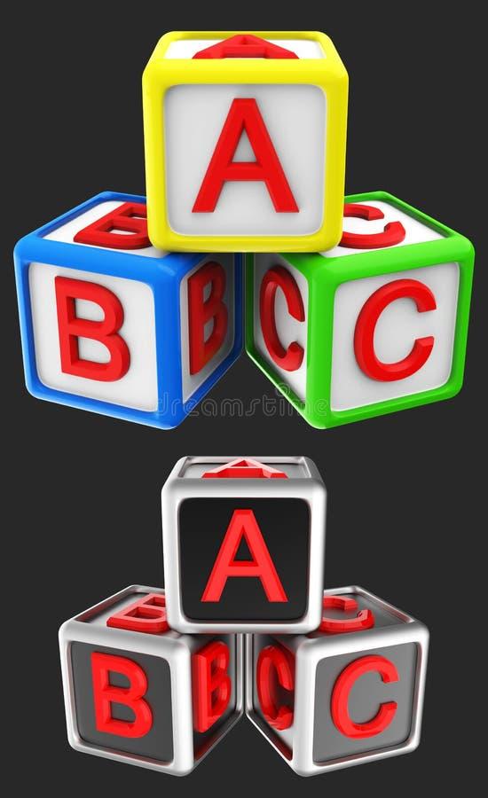 Cubo ABC dei blocchi royalty illustrazione gratis