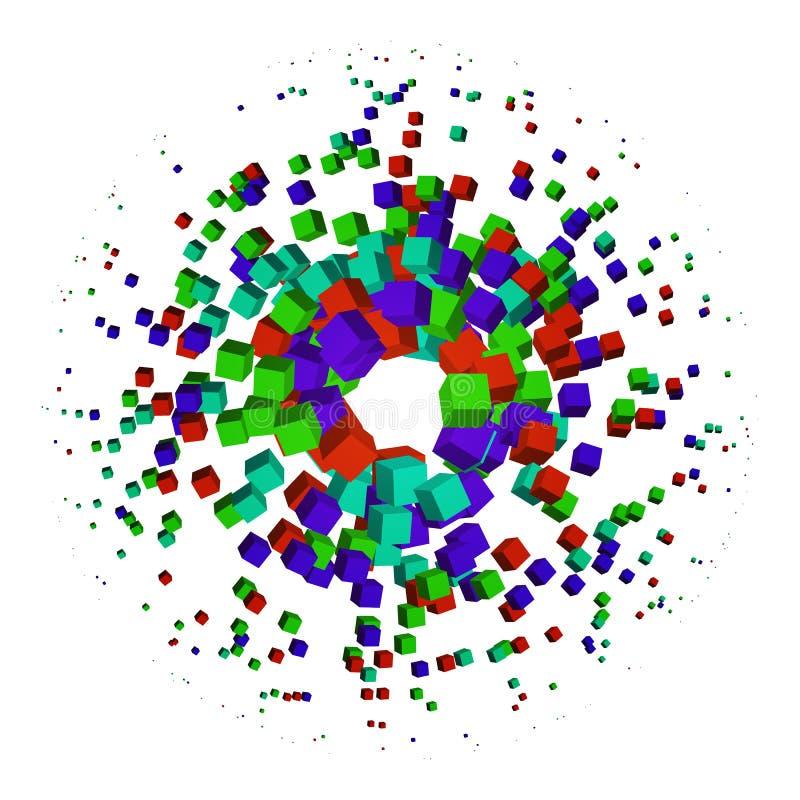Cubo abstracto de la partícula de la explosión en un fondo blanco Graphhics del vector stock de ilustración