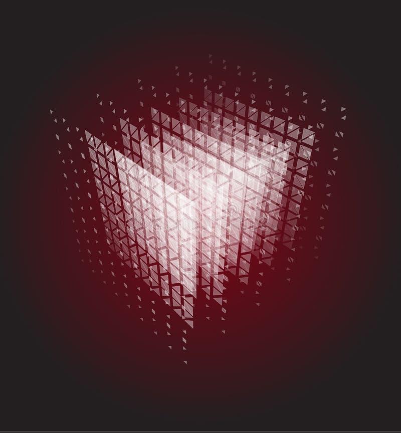 Cubo abstracto de partículas, ejemplo del vector del poder del cómputo del ordenador Centro de datos, bigdata, sitio del servidor libre illustration