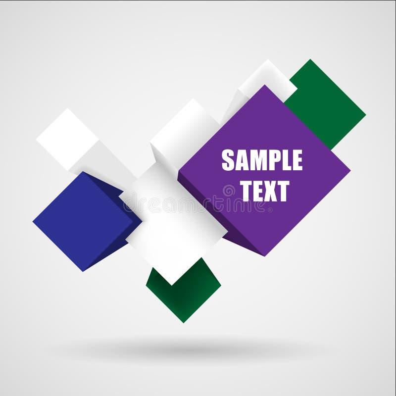 Cubo abstrato do elemento 3d ilustração stock