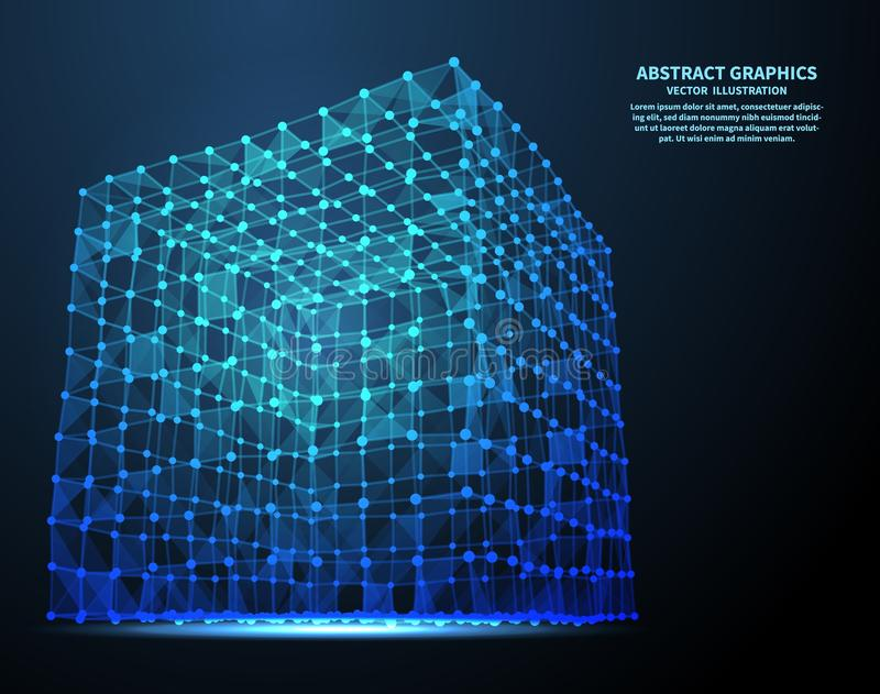 Cubo abstrato, ilustração do vetor Conexões de rede com os pontos e as linhas Fundo abstrato da tecnologia ilustração do vetor