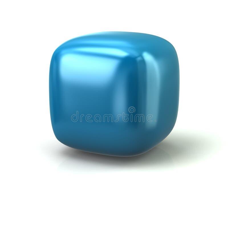 Cubo arredondado azul ilustração do vetor