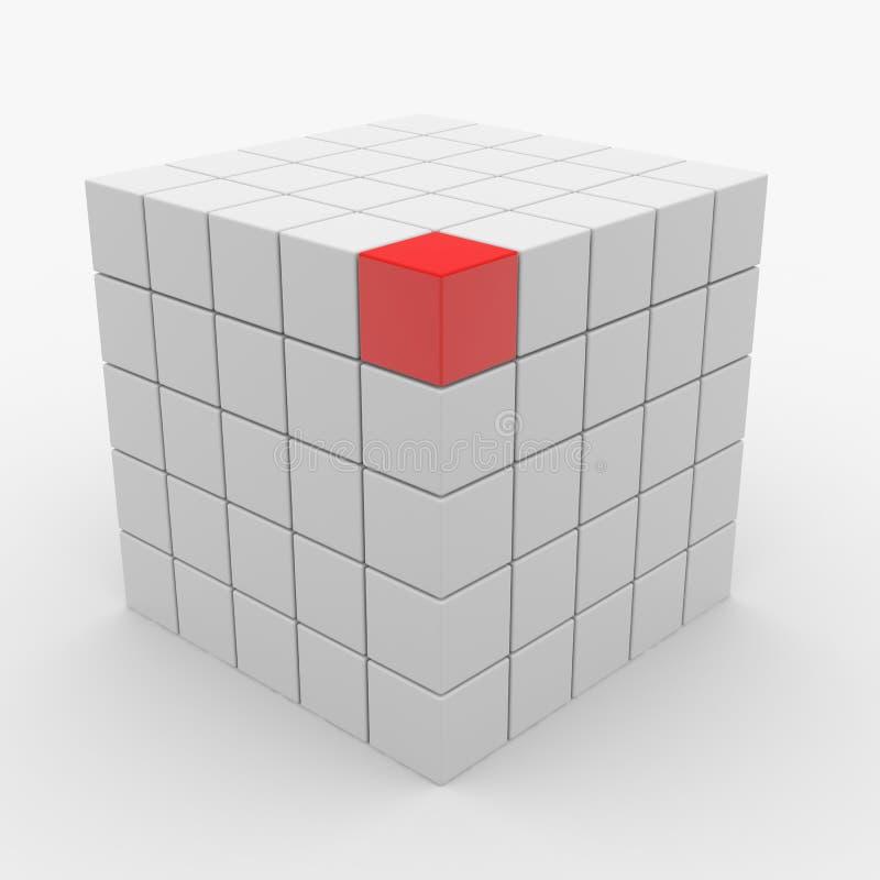 Cubo astratto che monta dai blocchi bianchi