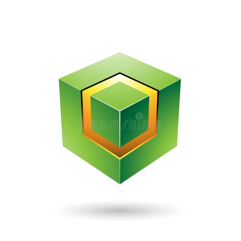 Cubo audace verde con l'illustrazione d'ardore di vettore del centro illustrazione di stock