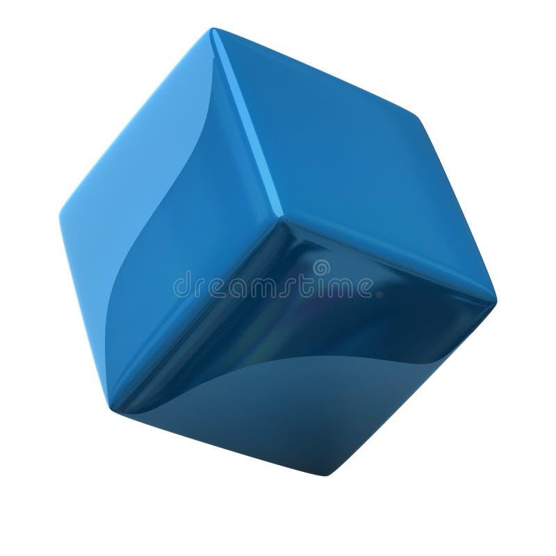 Cubo azul 3d ilustração royalty free