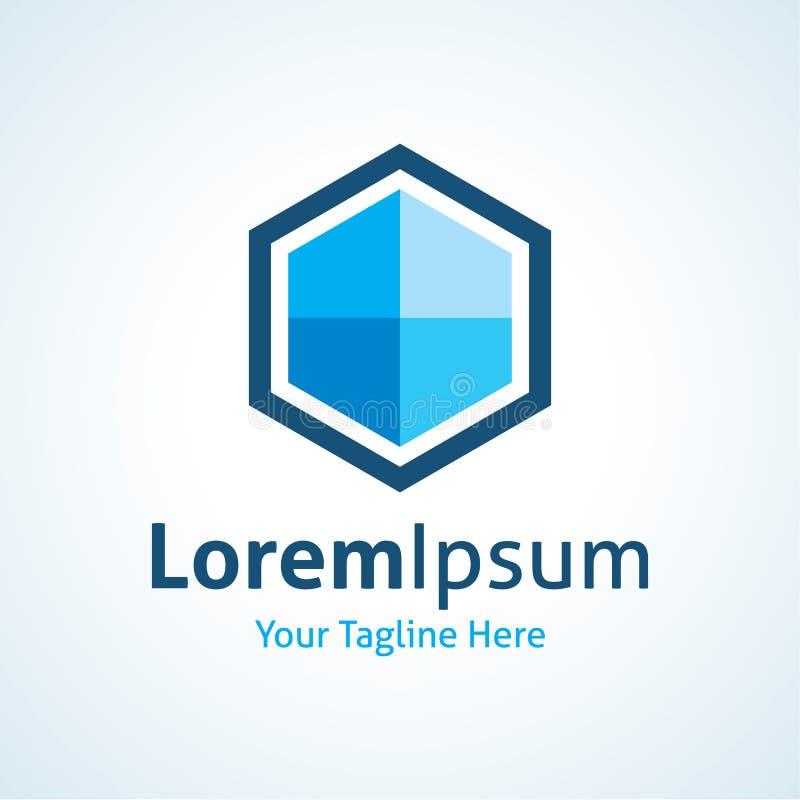 cubo azul del hexágono del negocio 3D que flota en el icono del logotipo del aire stock de ilustración