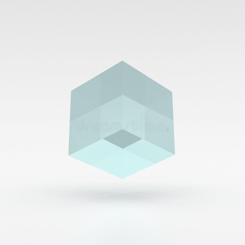 Cubo azul, lúcido que eleva y mantiene flotando sobre la tierra - ejemplo 3D libre illustration