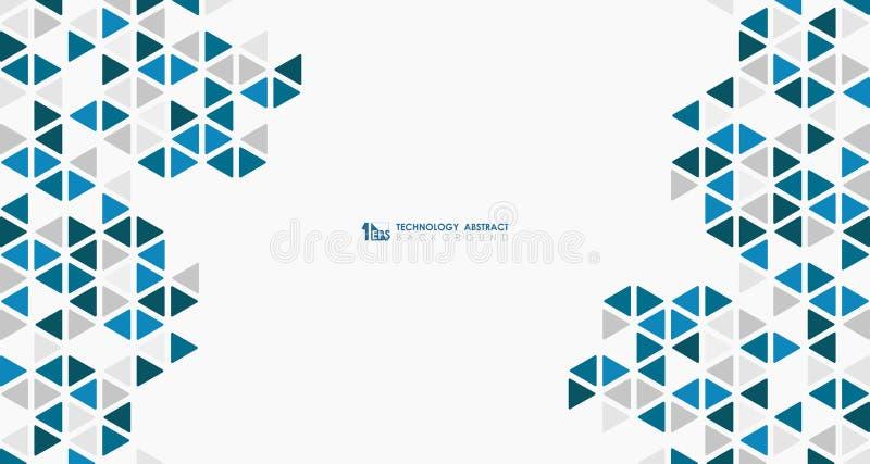 Cubo azul largo do sumário da baixa tecnologia de design sextavada geométrica do teste padrão Vetor eps10 da ilustra??o ilustração do vetor
