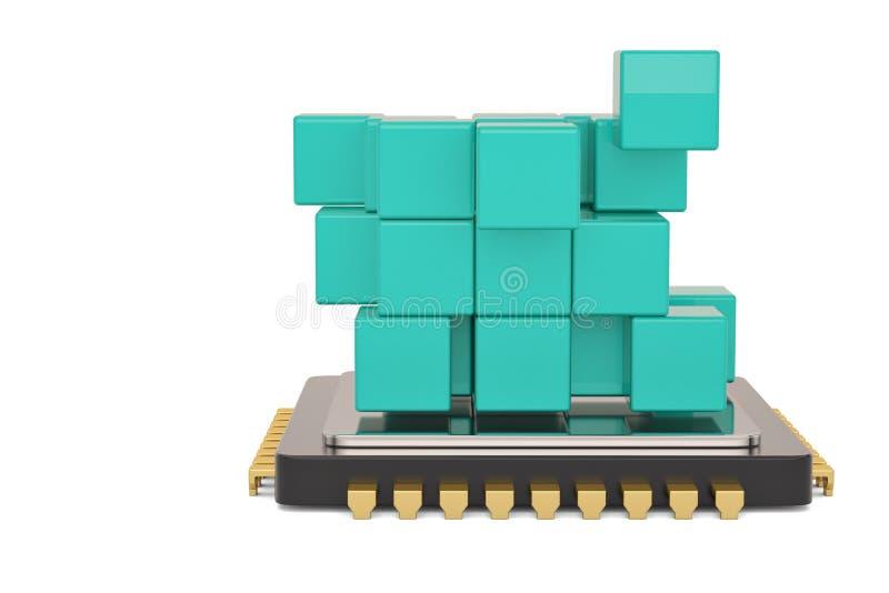 Cubo azul y CPU aislados en el fondo blanco ilustraci?n 3D stock de ilustración