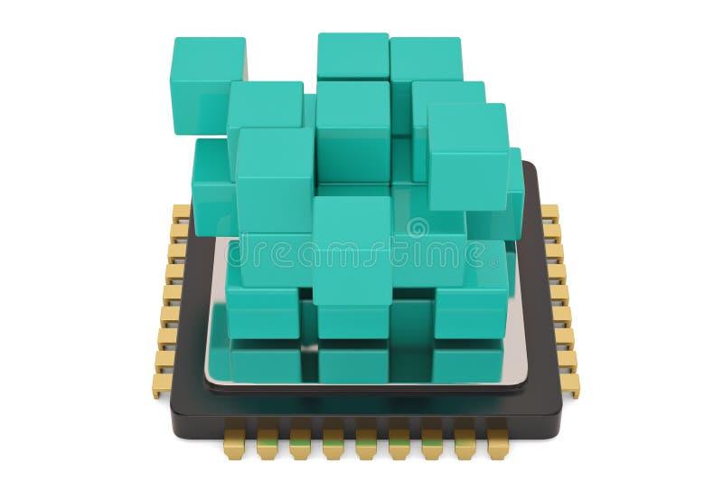 Cubo azul y CPU aislados en el fondo blanco ilustraci?n 3D ilustración del vector