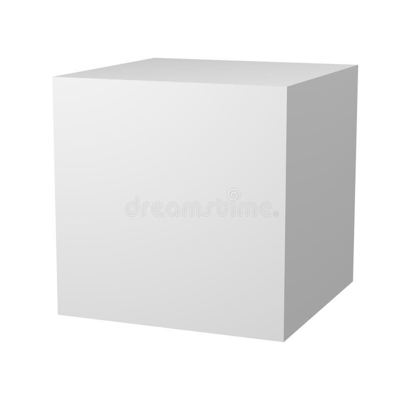 cubo blanco en blanco 3D ilustración del vector