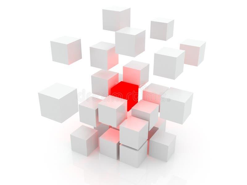 Cubo branco 3D ilustração do vetor