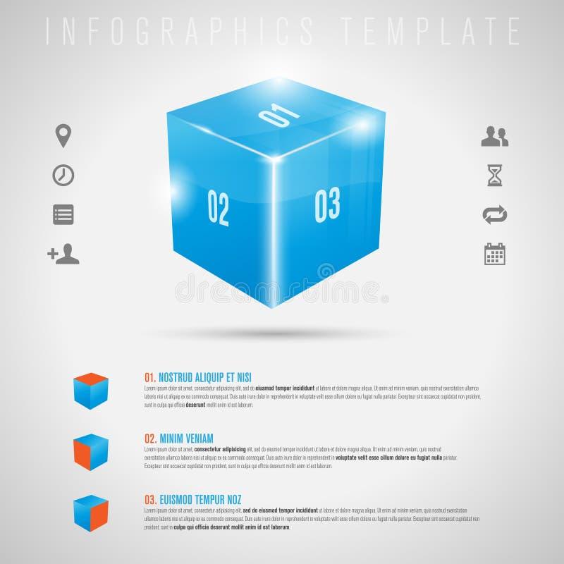 Cubo brillante abstracto 3D e iconos grises - infographi stock de ilustración