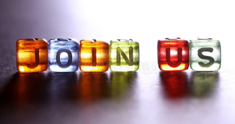 Cubo colorido brilhante do texto JOIN E.U., do recrutamento e do engodo de aluguer fotos de stock
