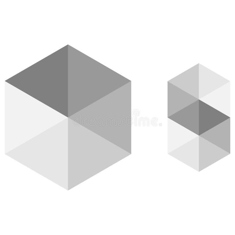 Cubo con el efecto del engaño stock de ilustración
