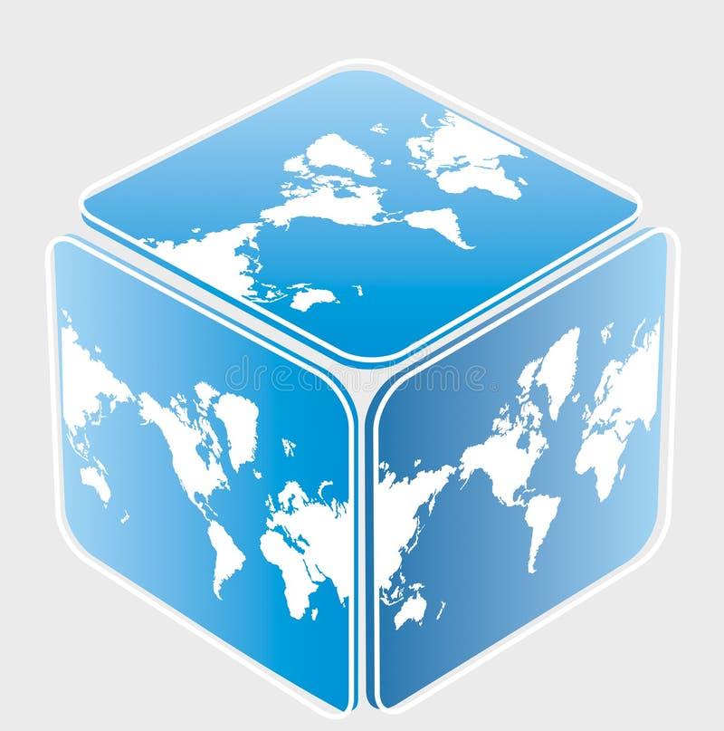 Cubo con il programma di mondo illustrazione vettoriale