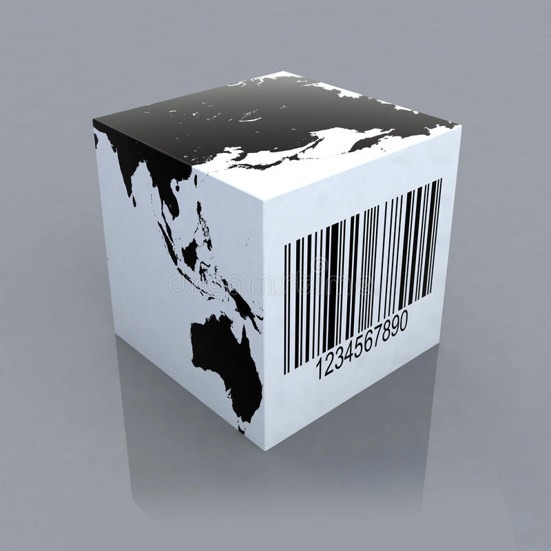 Cubo con il programma di mondo ed il codice a barre royalty illustrazione gratis