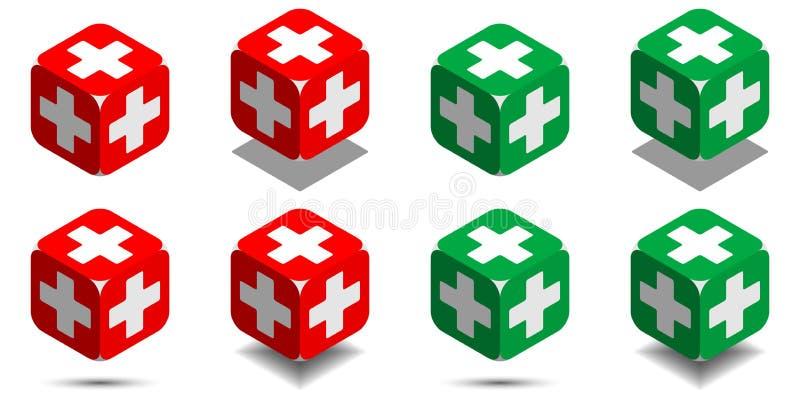 Cubo con la cruz médica en los colores rojos y verdes, cubo isométrico de la salud ilustración del vector