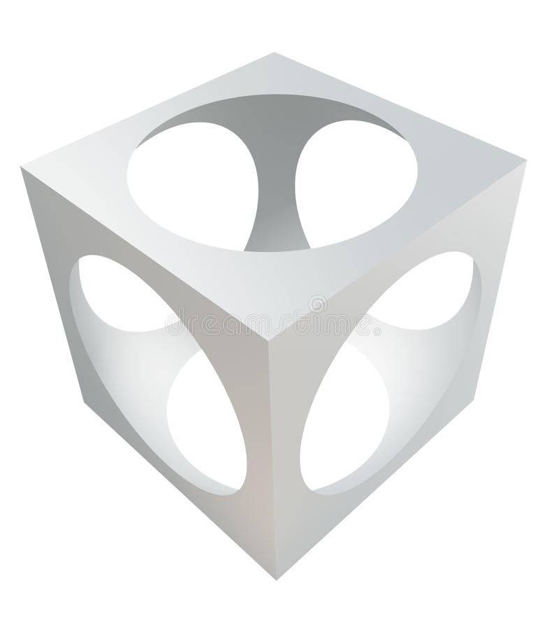 Cubo con la esfera del recorte. ilustración del vector