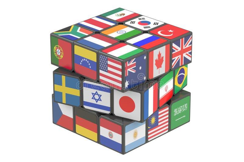 Cubo con le bandiere del mondo, rappresentazione 3D royalty illustrazione gratis