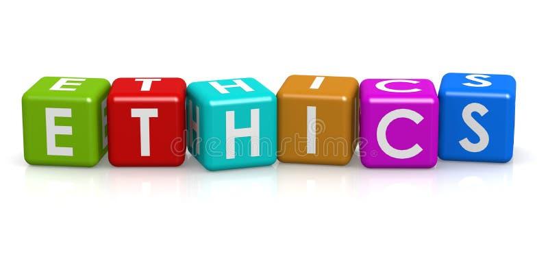 Cubo cuadrado con palabra de los éticas stock de ilustración